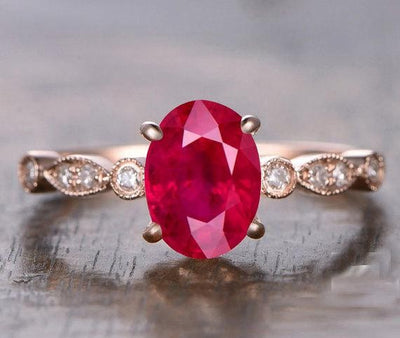 1.25 Carat Ruby and Moissanite Diamond Engagement Ring in 10k Rose Gold for her