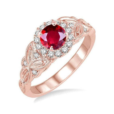 Handmade 1.25 Carat Red Ruby and Moissanite Diamond Engagement Ring in 10k Rose Gold for Women