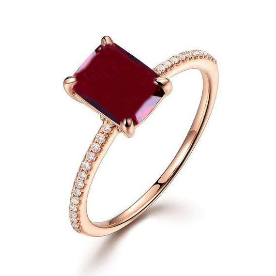 1.25 Carat Red Ruby and Moissanite Diamond Engagement Ring in 10k Rose Gold for Women on Sale