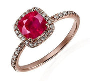 1.25 Carat Ruby and Moissanite Diamond Engagement Ring in 10k Rose Gold for Women on Sale