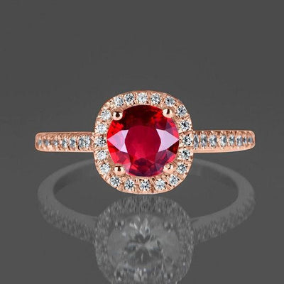 1.25 Carat Red Ruby and Moissanite Diamond Engagement Ring in 10k Rose Gold for Women