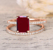 1.25 Carat Ruby in Emerald cut and Moissanite Diamond Engagement Bridal Wedding Ring Set in 10k Rose Gold