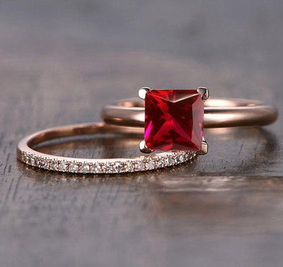 1.25 Carat Princess cut Ruby and Moissanite Diamond Engagement Bridal Wedding Ring Set in 10k Rose Gold