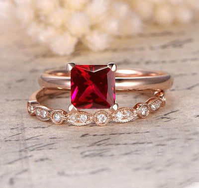 1.25 Carat Ruby Princess cut with Moissanite Diamond Engagement Bridal Wedding Ring Set in 10k Rose Gold