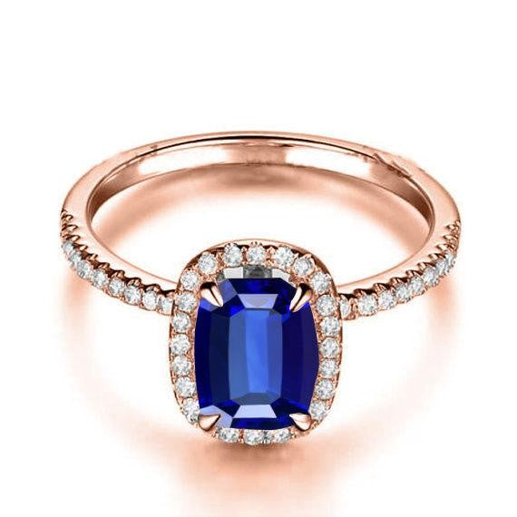 1.50 Carat Blue Sapphire and Moissanite Diamond Engagement Ring in 10k Rose Gold for Women on Sale