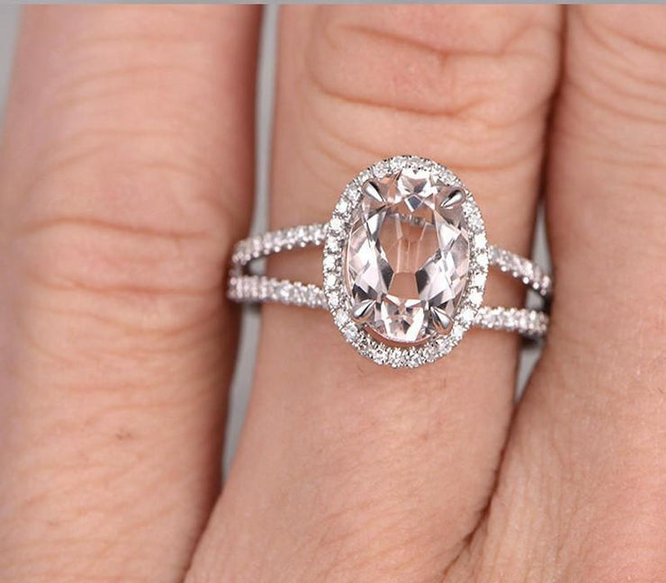 1.50 carat Oval Cut Morganite and Diamond Engagement Ring for Women in 10k White Gold