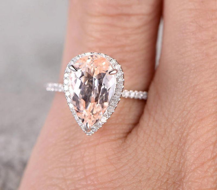 Sale 1.50 carat Morganite and Diamond Halo Engagement Ring for Women