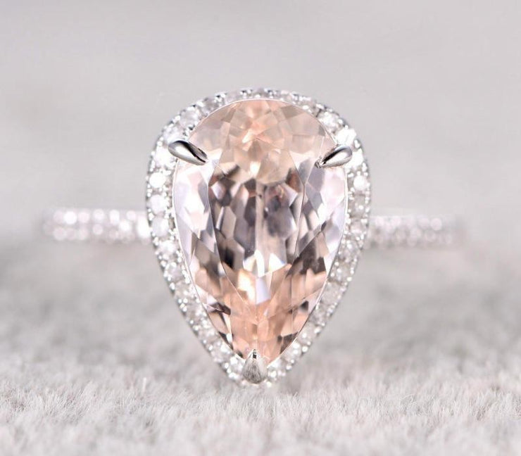 Sale 1.50 carat Morganite and Diamond Halo Engagement Ring in 10k White Gold for Women