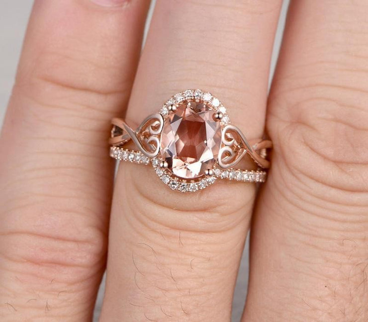 1.50 carat Morganite & Diamond Wedding Bridal Ring Set in 10k Rose Gold One Engagement Ring & Wedding Band