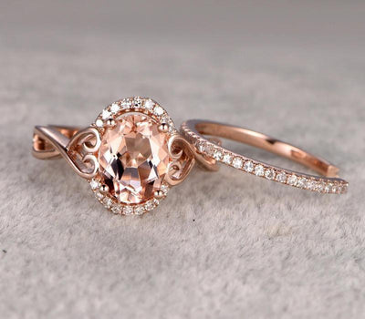 1.50 carat Morganite & Diamond Wedding Bridal Ring Set One Engagement Ring & Wedding Band