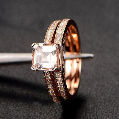 1.50 carat Princess Cut Morganite and Diamond Bridal Wedding Ring Set in Rose Gold Bestselling Design