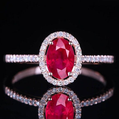 1.50 Carat Red Ruby and Moissanite Diamond Engagement Ring in 10k Rose Gold for Women on Sale