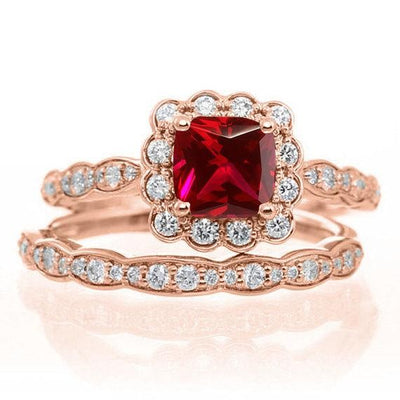 1.50 Carat Red Ruby Round cut and Moissanite Diamond Engagement Bridal Wedding Ring Set in 10k Rose Gold