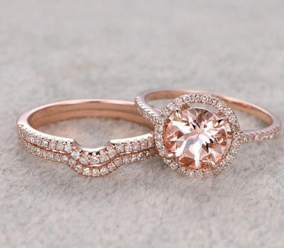 2 carat Morganite and Diamond Trio Ring Set in 10k Rose Gold with One Engagement Ring and 2 Wedding Bands
