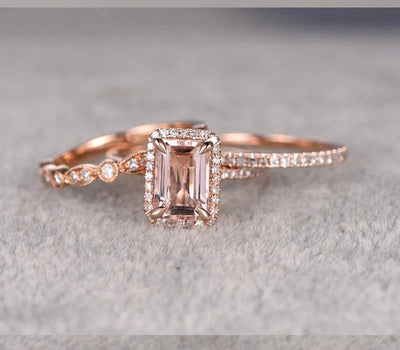 2 carat Morganite Ring with Diamonds in 10k Rose Gold with One Engagement Ring and 2 Wedding Bands