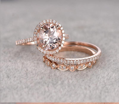 Sale 2 carat Morganite Ring Set in 10k Rose Gold with One Engagement Ring and 2 Wedding Bands