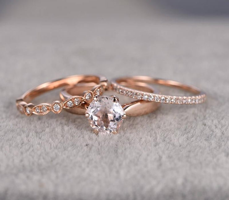 2 carat Morganite Ring with Diamond Trio Ring Set in 10k Rose Gold with 1 Engagement Ring and 2 Wedding Bands