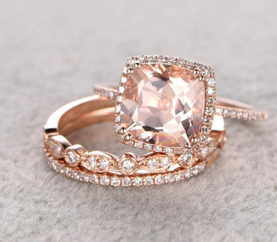 2.00 carat Morganite Trio Wedding Bridal Ring Set with Diamonds One Engagement Ring & 2 Wedding Bands