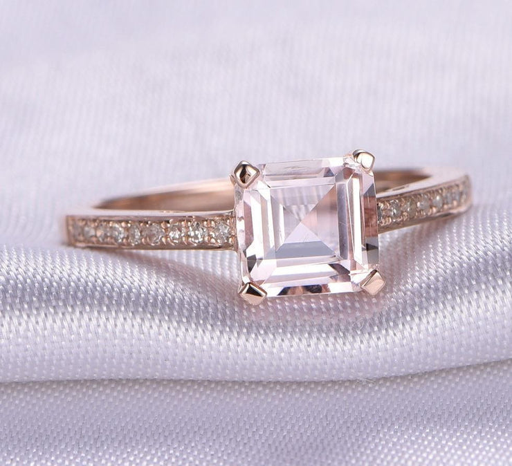 Antique 1.25 carat Morganite and Diamond Engagement Ring in 10k Rose Gold for Women