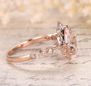 Limited Time Sale Antique 1.25 carat Morganite and Diamond Engagement Ring in 10k Rose Gold for Women
