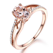 Antique 1.25 Carat Peach Pink Morganite and Diamond Engagement Ring in 10k Rose Gold