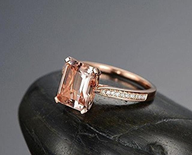 Limited Time Sale Antique 1.25 Carat Peach Pink Morganite (emerald cut Morganite) and Diamond Engagement Ring in 10k Rose Gold
