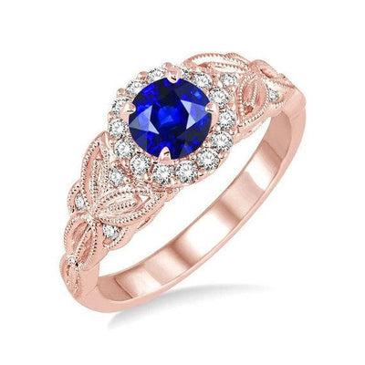 Limited Time Sale Antique Vintage design 1.25 Carat Blue Sapphire and Moissanite Diamond Engagement Ring in 10k Rose Gold for Women on Sale