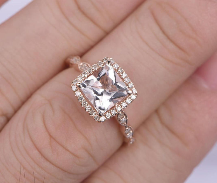 Vintage Design 1.25 carat Morganite Engagement Ring with Diamonds in 10k Rose Gold for Women