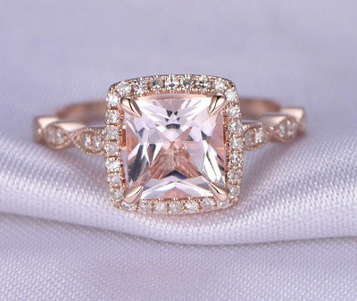 Antique Design 1.25 Carat Peach Pink Morganite Engagement Ring with Diamonds