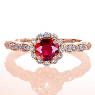 Antique Vintage Design 1.25 Carat Red Ruby and Moissanite Diamond Engagement Ring in 10k Rose Gold for Women on Sale