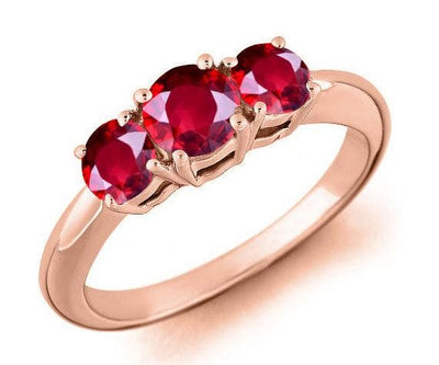 Trilogy Three Stone 1 Carat Red Ruby Engagement Ring in 10k Rose Gold for Women on Sale