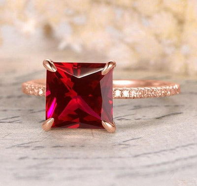 Antique Design 1.25 Carat Red Ruby and Moissanite Diamond Engagement Ring in 10k Rose Gold for Women