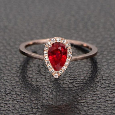 Vintage Design 1.25 Carat Red Ruby and Moissanite Diamond Engagement Ring in 10k Rose Gold for Women on Sale