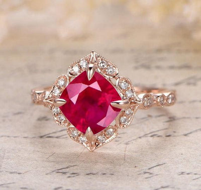 Vintage Antique Design 1.25 Carat Red Ruby and Moissanite Diamond Engagement Ring in 10k Rose Gold for Women on Sale