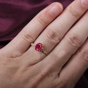 Antique Design 1.25 Carat Red Ruby and Moissanite Diamond Engagement Ring in 10k Rose Gold for Women on Sale
