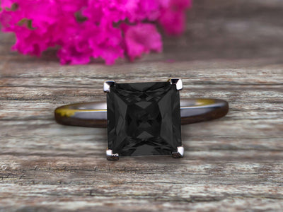 1.00 carat Classic Princess Cut Black Diamond Moissanite Diamond Solitaire Engagement Ring on 10k White Gold