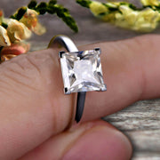 1.00 carat Classic Princess Cut Moissanite Diamond Solitaire Engagement Ring on 10k White Gold