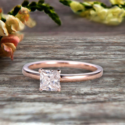 1.00 carat Classic Princess Cut Moissanite Diamond Solitaire Engagement Ring on 10k Rose Gold