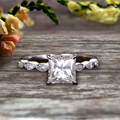 1.25 carat Classic Princess Cut Moissanite Diamond Engagement Ring on 10k White Gold Classic Vintage Art Deco