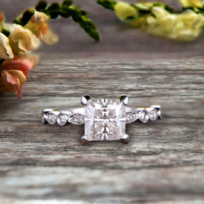 1.25 carat Classic Princess Cut Moissanite Diamond Engagement Ring on 10k White Gold