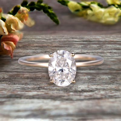 1.00 carat Classic Oval Moissanite Diamond Solitaire Engagement Ring on 10k Yellow Gold