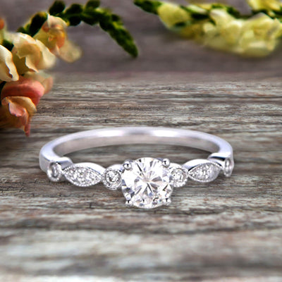 1.25 Carat Art Deco Style Round Moissanite  Diamond Ring on 10k White Gold Vintage Style