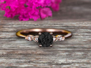 1.25 Carat Beautiful Round Black Diamond Moissanite Diamond Engagement Ring on 10k Rose Gold