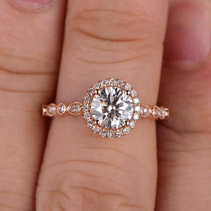 1.50 Carat Halo Moissanite Diamond Engagement Ring Classic Vintage Art Deco 10k Solid Rose Gold