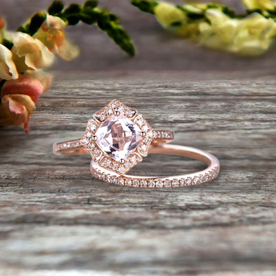 1.75 Carat Cushion Cut Morganite Wedding Set Bridal Engagement Ring On 10k Rose Gold Vintage Art Deco Antique Flower Halo Design