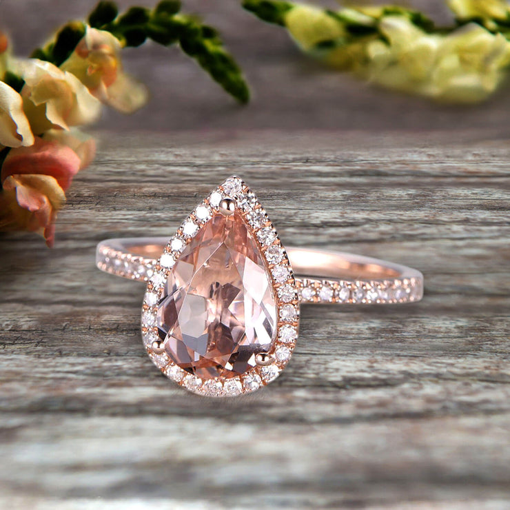 1.50 Carat Pear Shaped Morganite Engagement Ring On 10k Rose Gold Halo Teardrop Design Anniversary Gift Personalized for Brides