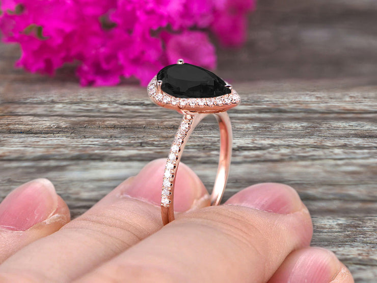 1.50 Carat Pear Shaped Black Diamond Moissanite Engagement Ring On 10k Rose Gold Halo Teardrop Design Anniversary Gift Personalized for Brides