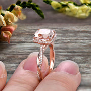 1.50 Carat Cushion Cut Morganite Engagement Ring Infinity Twisted Halo Stacking Band Promise Ring 10k Rose Gold