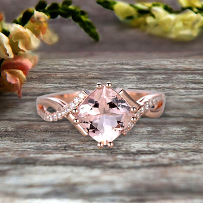 1.25 Carat Cushion Cut Morganite Engagement Ring Infinity Twisted Curved Promise Ring On 10k Rose Gold