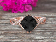 1.25 Carat Cushion Cut Black Diamond Moissanite Engagement Ring Infinity Twisted Curved Promise Ring On 10k Rose Gold